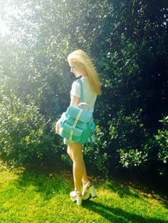 Light blue leather backpack  by Grafea www.grafea.co.uk