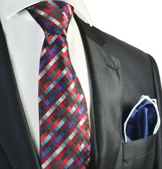 Red and Blue Patterned Men's Tie and Pocket Square