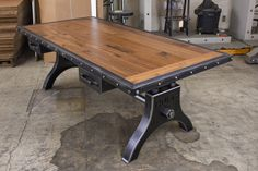 Vintage Industrial Hure Desk Model #HU66 This desk has a naturalfinish on the steel, as well as the walnut top. Visit the product page for more info. Orcontact us for more info...
