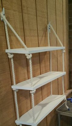 3 Tier Nautical Rope Shelf by BarnMade4U on Etsy