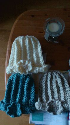 I made some hats (bad picture, though)! Get the pattern by clicking the pic (flower is not included in that design). Free Crochet, Crochet Hats, Bad Picture, Beanie Pattern, Crochet Projects, Winter Hats, Flower, Inspiration, Design