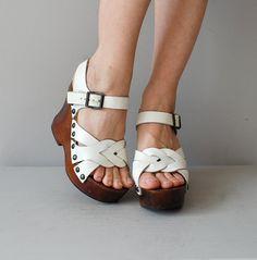 1970s platforms / 70s wood platform heels / platform clogs.