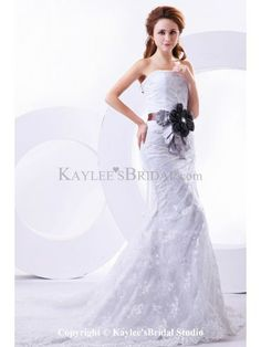 Lace Strapless Chapel Train Sheath Wedding Dress