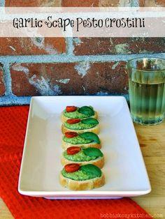 Bobbi's Kozy Kitchen: Garlic Scape Pesto Crostini #appetizer #veggies #pesto