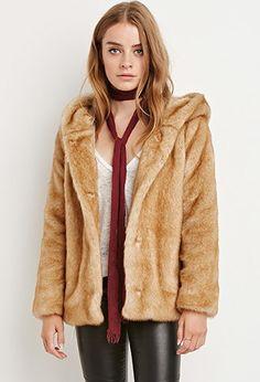 Hooded Faux Fur Coat | Forever 21 - 2000141541
