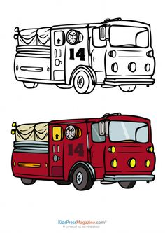 fire truck coloring page with fully colored reference