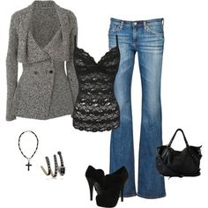 Black lace cami, jeans & grey coat.