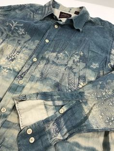 f448c91e59 Tommy Bahama Indigo Palms 100% Linen Shirt Mens XL Tropical Tie Dye NWOT   TommyBahamaIndigoPalms