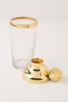 Glass and gold cocktail shaker