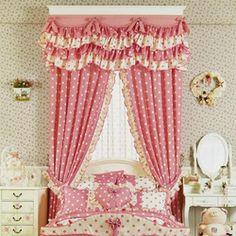 Online Shop Estilo coreano rosa pontos janela Valance sombra pano princesa menina sala de estar em decoração têxtil|Aliexpress Mobile