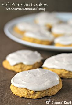 Soft Pumpkin Cookies with Cinnamon Buttercream Frosting from SixSistersStuff.com - the perfect cookie!