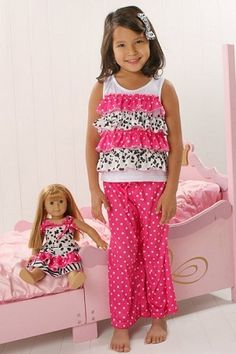 perfect matching pj set for little girls and their AG dolls.