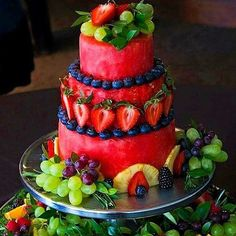 "This Carved Watermelon ""Cake"" would be a great idea for a healthy dessert that still has that Wow factor."