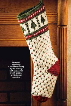 Fair Isle Christmas Stocking crochet pattern from Christmas in Crochet. The publication includes 60+ merry designs! Order here: http://www.anniescatalog.com/detail.html?prod_id=103457