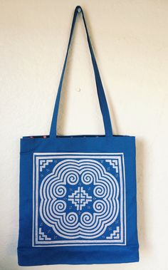 From the 2/4 sneak attack -- Blue Round Paj Ntaub Tote Bag // Hmong by HmongTextilesByHeur