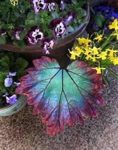 Decorative cement leaf in teal majenta and copper by StudioJLK