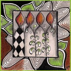 """Tickled To Tangle: """"It's a String Thing"""" #208 Happy Birthday Tiles"""
