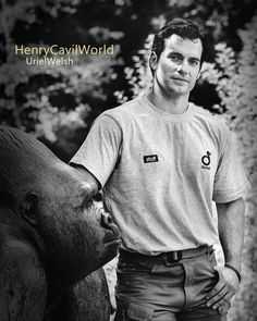 Henry Cavill with Durrell gorilla statue. Black and white edit. Submission for Henry Cavill World. http://phebe0293.wixsite.com/henrycavillfanarts  #HenryCavill #DurrellWildlifePark #DoitforDurrell