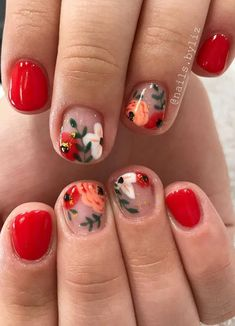 Flower nail art design is the favorite of many women, and its trend of popularity is rising. Although it& fall now, leaves begin to turn yellow and flowers begin to fade, you can still use flower nail art design. In today& article, we have colle Flower Nail Designs, Nail Art Designs, Gorgeous Nails, Pretty Nails, Floral Nail Art, Flower Nails, Nail Art Flowers, Stylish Nails, Spring Nails