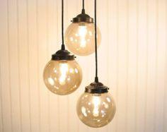 Biddeford III  Smoked CHANDELIER Trio Light - Flush Mount Ceiling Lighting Fixture Glass Pendant Track Mid-Century LampGoods Modern Kitchen