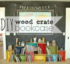 Organize! Make a DIY Wood Crate Bookcase ENTRY WAY NEXT TO OUR BENCH. MAKE THE TOP FLAT FOR TABLE TOP THEN A TALL PLANT