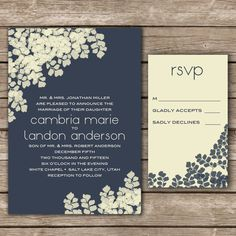 Floral Wedding Invitation & RSVP., via Etsy.