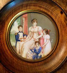 Antique Portrait Miniature Of Caroline Bonaparte with her children