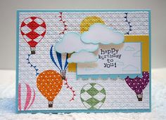 Very fun hot air balloon card using the Up, Up and Away stamp set!