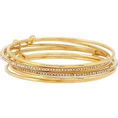 Kate Spade New York Stack Attack Stackable Bangle ($78) ❤ liked on Polyvore featuring jewelry, bracelets, accessories, metalic, stacked bangles, hinged bracelet, hand crafted jewelry, hinged bangle and kate spade bangle