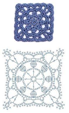 World crochet: Motif 274 Crochet Motif Patterns, Crochet Blocks, Crochet Diagram, Crochet Chart, Crochet Squares, Diy Crochet, Square Patterns, Crochet Granny, Granny Squares