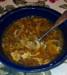 Hot & Sour Soup...this is the closest to a legit Chinese restaurant (legit American Chinese) broth I have found...I had a can of La Choy Fancy Vegetables, box of sliced shitake (or any other type of shroom...even canned works), and egg whites. Oh, and I add couple squirts of sriracha. End result is about 65 calories for 1.5 cups. Delightful.