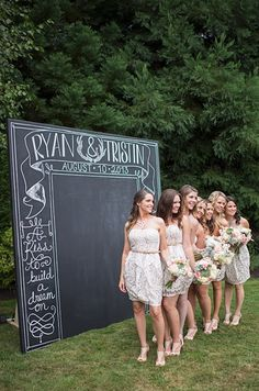 Janna. LOVE so many things in this wedding.  The chalk boards, the balloons and they even provide most of their expenses :-). DIY chalkboard backdrop. Repin by Inweddingdress.com #weddings
