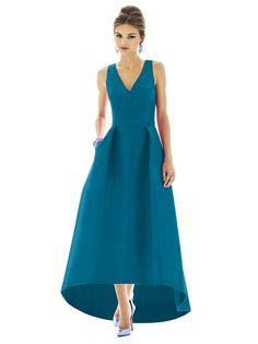 Alfred Sung D589 Dress Peau De Soie Front-Pleat A-line Hi-Low Hem