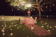 Decorations For Wedding Ceremony Romantic Night | visit www.lovelyweddingideas.com