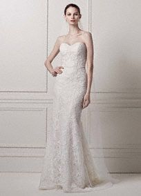 Strapless Lace Sheath Gown with Pearl Beading, Style CWG641 #davidsbridal #olegcassini #weddingdress