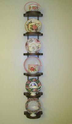 tea cups and saucers wall display shelves Vintage Dishes, Vintage Tea, Tea Cup Saucer, Tea Cups, Tea Cup Display, Plate Display, Cup Crafts, Display Shelves, Display Wall