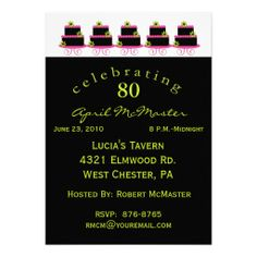 Colorful Cake 80th Birthday Party Invitation