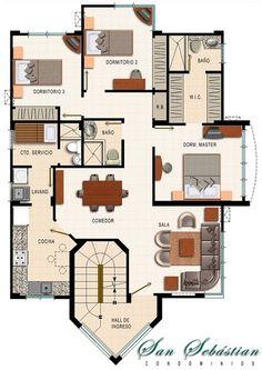 Картинки по запросу planos de casas de 90m2 de 2 pisos