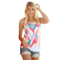 Fashion T Shirt Women Summer casual Loose Geometry Printing