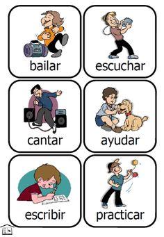printable spanish verb flashcards from PrintableKidStuff.com