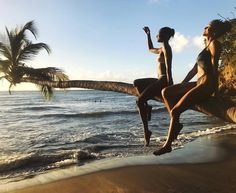 Models Mélodie Monrose and Imaan Hammam at Anse Couleuvre Beach in Martinique