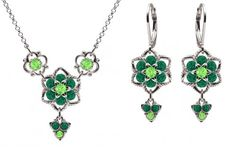 Lucia Costin Jewelry Set Necklace and Earrings with Middle Flower Light Green and Dark Green Swarovski Crystals Set with Twisted Lines and Cute Charms 925 Sterling Silver Handmade in USA * Find out more about the great product at the image link.