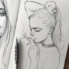 art sketchbook Put together me pencil_arts_group . Art by Pencil Art Drawings, Art Drawings Sketches, Cute Drawings, Pencil Sketching, Sketch Art, Girl Pencil Drawing, Sketches Of Girls, Tumblr Sketches, Unique Drawings