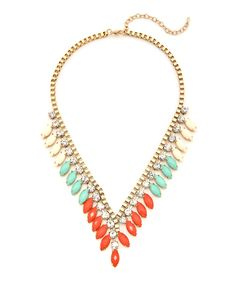 Deep V Jewel Statement Necklace - Mint and Coral #shoplately