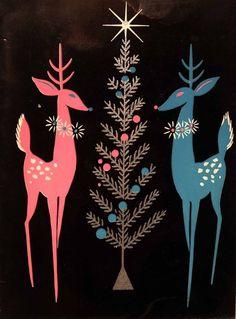 #985 50s Mid Century Pink & Blue Deer- Vintage Christmas Card-Greeting