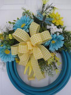 Garden Hose Wreath Turquoise Yellow Gerbera's Spring Summer Free Shipping | eBay