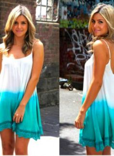 Sleeveless Aqua Dipped Ombre Dress with Crochet Trim,  Dress, ombre print  sleeveless dress, Casual