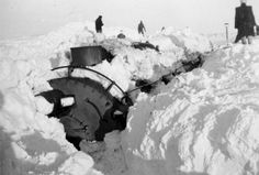 Digging locomotive out of snow after Great Plains Blizzard in 1949