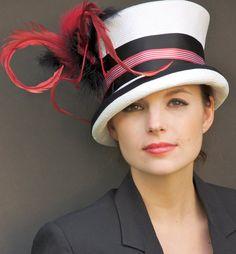 Black, Red & White Cloche Straw Kentucky Derby Hat