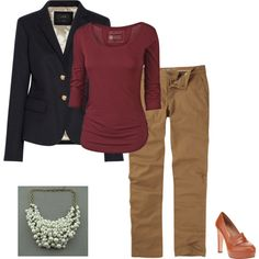 """Navy blazer, burgundy shirt, camel chinos, pearls and heels"" by sandalprints on Polyvore"